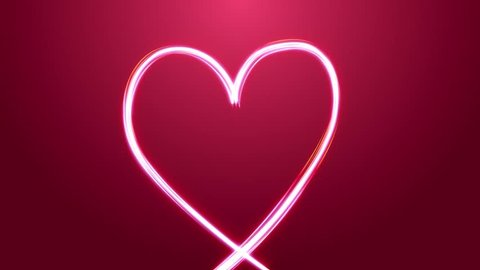 Heart With Color Stroke For Valentine's Day/ Animation of an elegant colorful neon heart made with abstract multiple light strokes following motion path