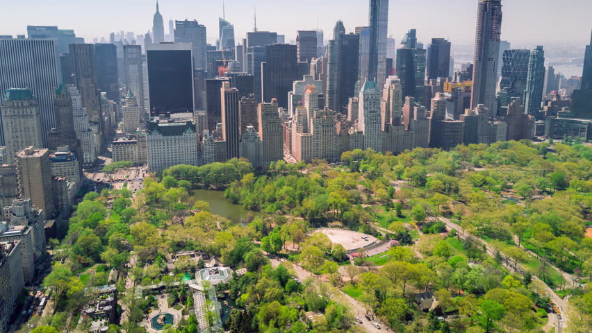 Aerial timelapse dronelapse view of Central Park, Upper East and West Side Manhattan and Midtown Manhattan, New York, USA | Shutterstock HD Video #1012402292