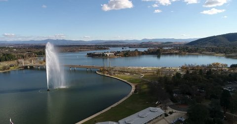 Tall fountain in the middle of Lake Burley Griffin in Canberra – capital city of Australia.