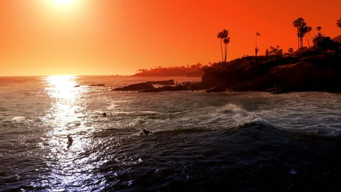Aerial Shot of Sunset Ocean Waves California Coastline Laguna Beach