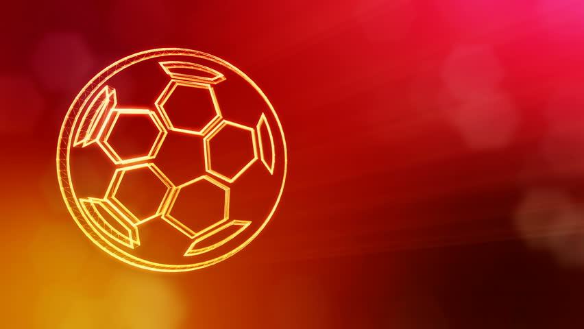 Icon of soccer ball. Background made of glow particles as vitrtual hologram. 3D seamless animation with depth of field, bokeh and copy space. Red version 3 | Shutterstock HD Video #1012430912
