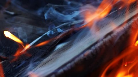 Burning Wood. Burning fire in a home fireplace. Slow motion
