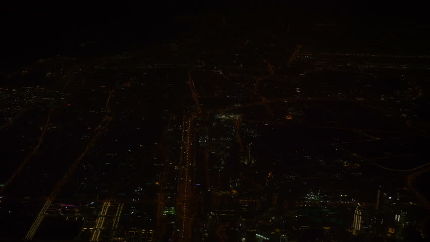 Night view of the city from an airplane. | Shutterstock HD Video #1012535012