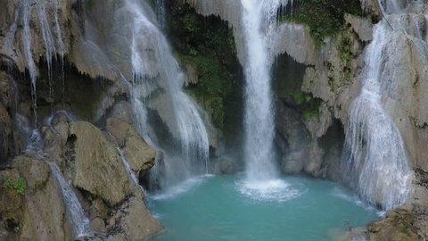 Kuang Si Waterfall, Laos, ascending drone shot.