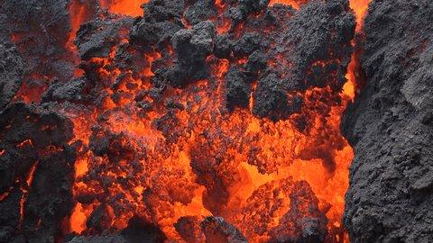 Closeup of a viscous lava flow of Kilauea volcano on Hawaii
