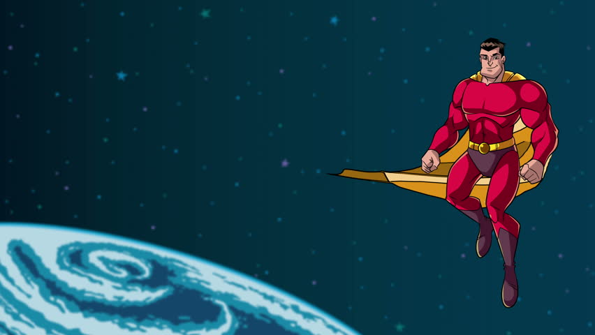 Animation of happy cartoon superhero wearing cape and red costume while flying in outer space.