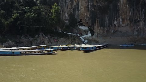 Sightseeing Tour Boats on the Mekong River in Front of the Pak Ou Caves