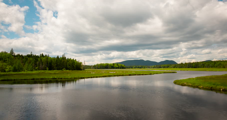 Clouds Passing Over A Tributary In Acadia National Park, Maine