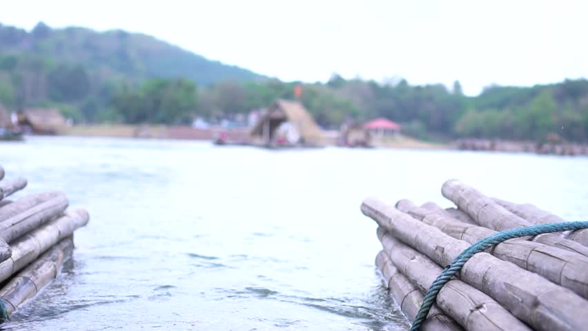 bamboo raft,  for travel Tourism in LOEI, Thailand,  Holiday by lake concept. Slow motion shot