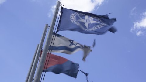 Flags at west bank security checkpoint, Israel