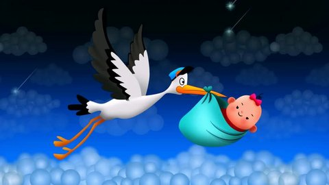 stork flying holding a bag with a baby, best loop video screen background for lullaby to put a baby to sleep, calming relaxing