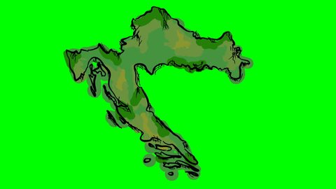 Croatia drawing colored map on green screen isolated