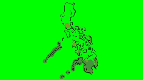 Philippines drawing colored map on green screen isolated