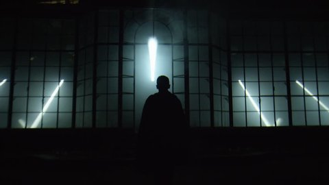 Man walking towards a monumental structure in the darkness