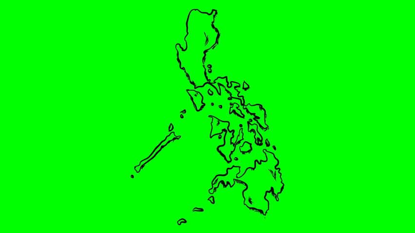 Philippines drawing outline map on green screen isolated