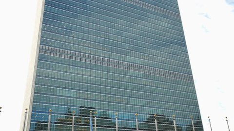 NEW YORK, USA - APRIL 2018: Headquarters building of the United Nations or UN in New York City Manhattan
