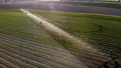 Industrial irrigator spraying water on a field of crops, in europe, Video in 4 to flight, view over