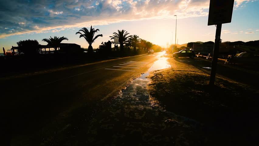 Urban road at sunset in Alghero