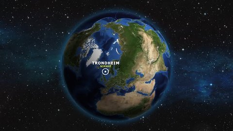 NORWAY TRONDHEIM ZOOM IN FROM SPACE