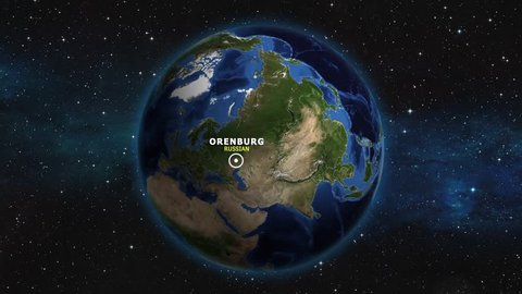RUSSIAN ORENBURG ZOOM IN FROM SPACE