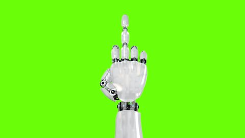 Robot Hand Shows Middle Finger Fuck You on a Green Background. Two options, Beautiful 3d animation.