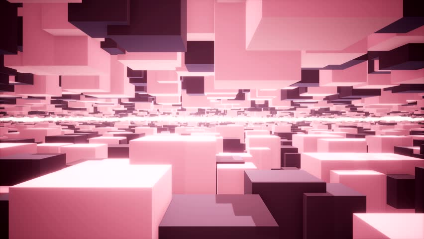 travel in an abstract landscape built with pink and purple cubes, voyager dans un paysage abstrait construit avec des cubes roses et violets