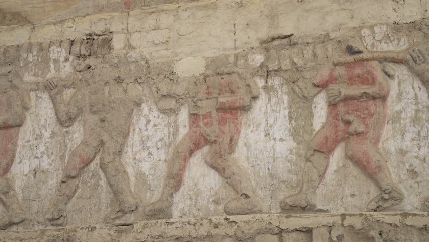 Naked prisoners and warriors on a Bas-relief pattern, Huaca El Brujo in Peru, South America