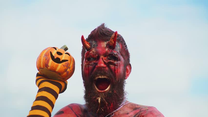 Devil vampire portrait. Halloween red devil monster. Krampus. Christmas devils. Halloween