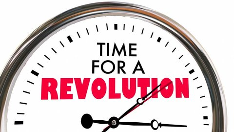 Time for a Revolution Big Change Disruption Clock 3d Animation