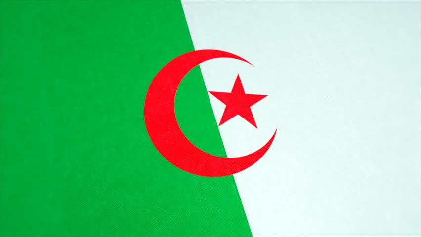 People's Democratic Republic of Algeria. Stockfootage of National Flag of Algeria - Animated Algerian Country Flag - Windy Flag Motion Background