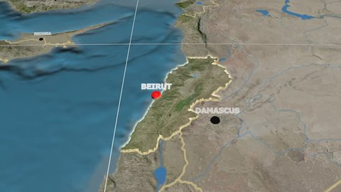 Zoom-in on Lebanon extruded on the globe. Capital, administrative borders and graticule. Satellite imagery