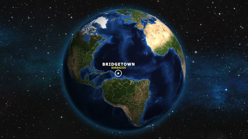 BARBADOS BRIDGETOWN ZOOM IN FROM SPACE