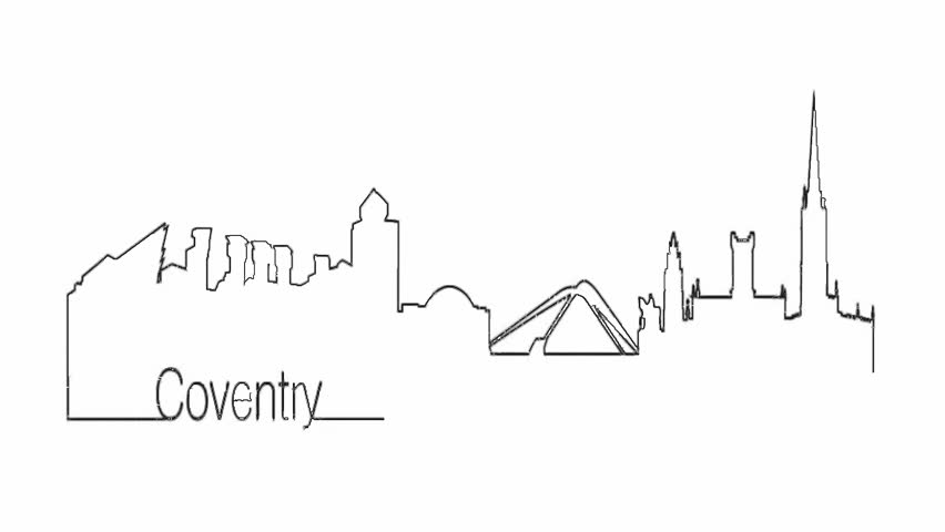 Self drawing animation of continuous one line drawing of isolated vector object - city urban skyline outline of Coventry Warwickshire England