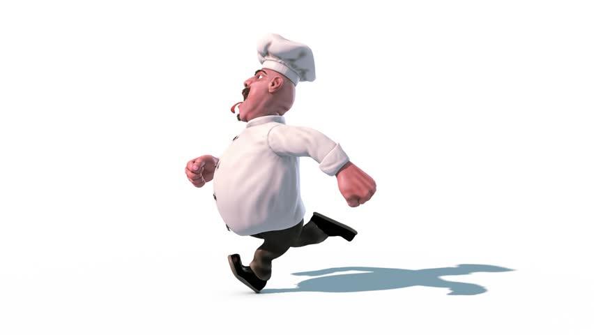 Fun Chef Run Tongue Alpha Matte Side 3D Rendering Animation