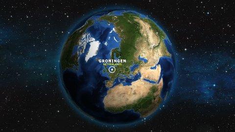 NETHERLANDS GRONINGEN ZOOM IN FROM SPACE