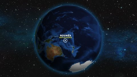 NEW CALEDONIA NOUMEA ZOOM IN FROM SPACE
