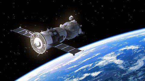 4K. Spacecraft Deploys Solar Panels. 3D Animation. 3840x2160.