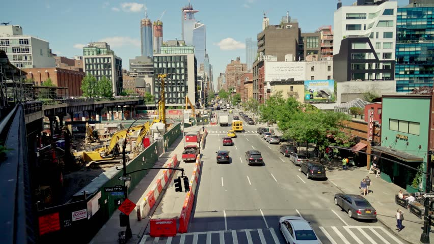 New York, United States, June 11, 2018: overview on 10th street seen from the Highline walkway in downtown Manhatten