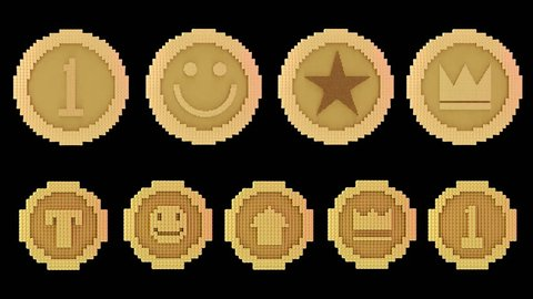 8 bits voxel rotating animated golden coins, arcade style