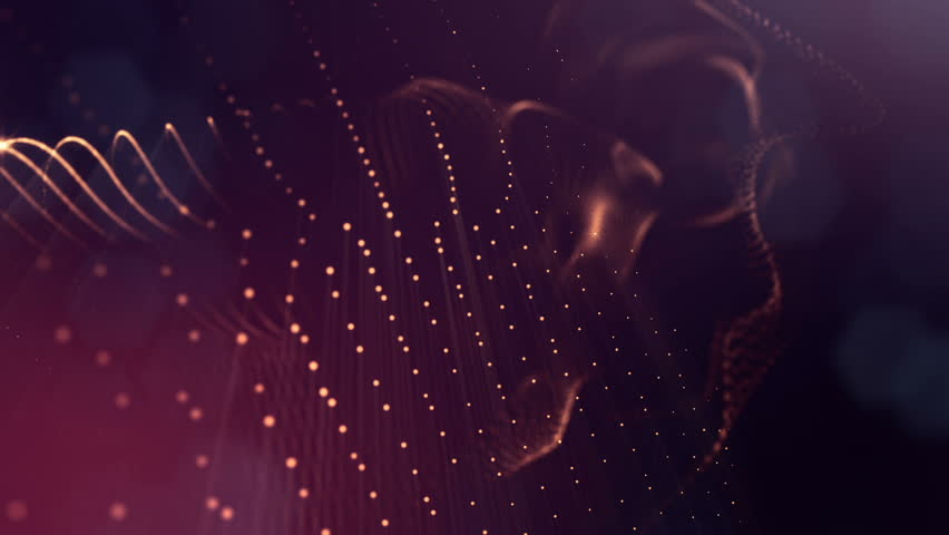 Abstract dark background as a loopable sequence with glow particles and depth of field. 3d render of massive of particles with glow that form surfaces in looped motion.  | Shutterstock HD Video #1013061962