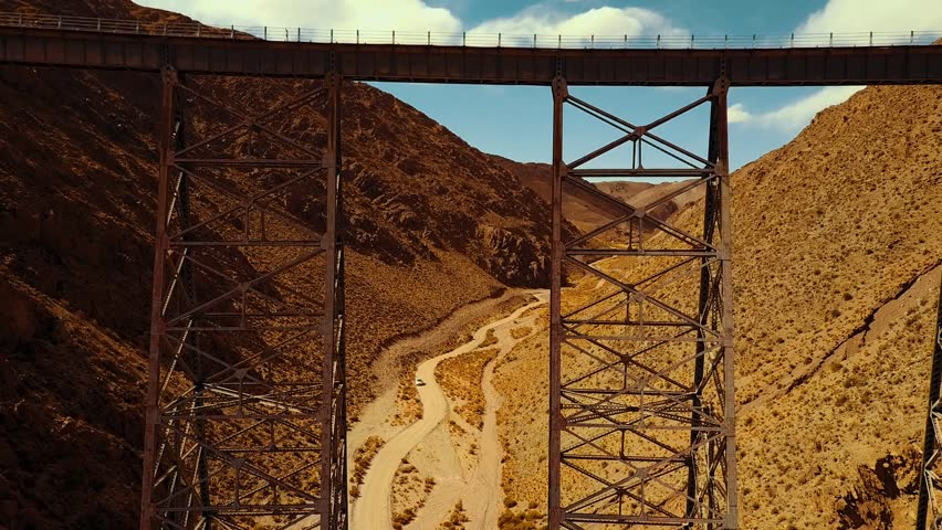Drone rises up and flies over the Polvorilla Viaduct in Argentina