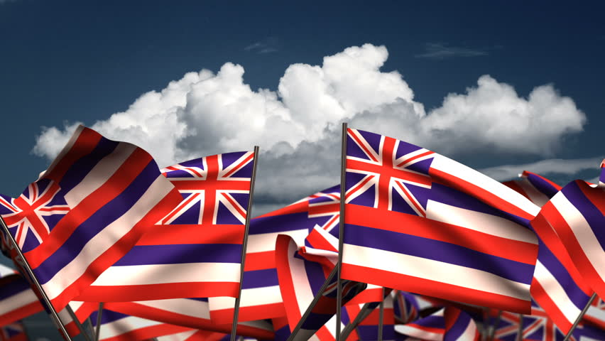 Waving Hawaii State Flags (seamless & alpha channel) 3d rendering