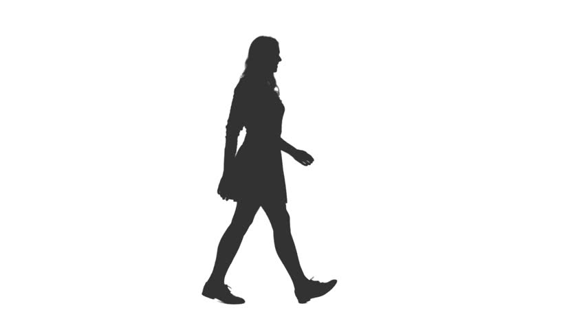 Silhouette of young attractive woman walking in mini skirt, Side view, Full HD footage with alpha transparency channel isolated on white background