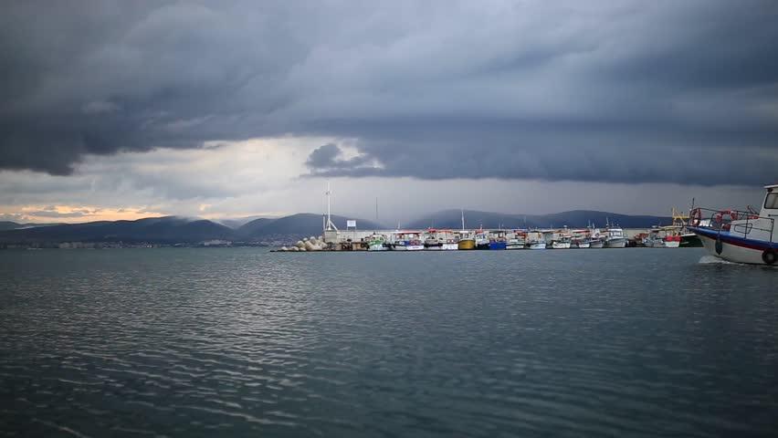 Ship is sailing in Bulgaria, Nessebar