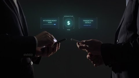 Online transaction. Electronic financial transactions in the smartphone. B2B payment. Cryptoccurency.