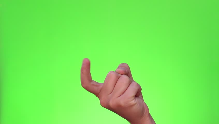 Beckoning sign. Come here. Single handed gesture. Chromakey. Green Screen. Isolated