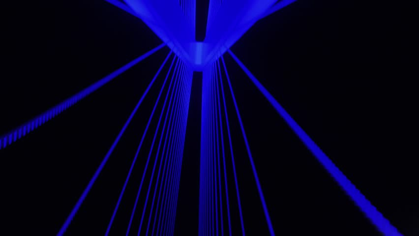Blue Bridge Driving Through Abstract Lines and Colors at Night | Shutterstock HD Video #1013157542