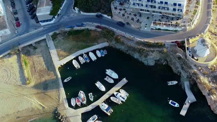 Aerial view of coast at island Paros, Greece