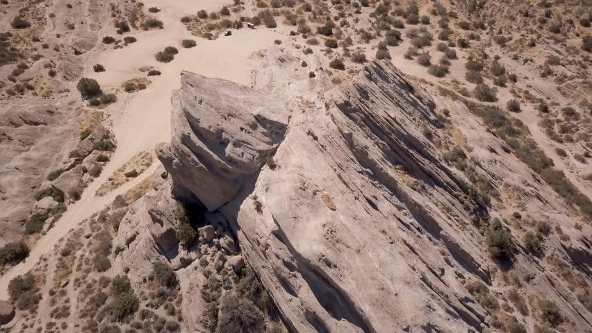 Aerial orbit of the breathtaking Vasquez Rocks in the California desert