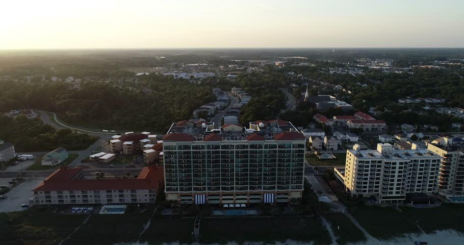 Myrtle beach ocean front aerial view at sunset.